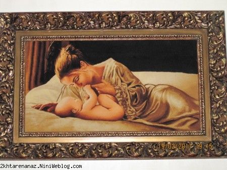 نخ و نقشه تابلو فرش مادر و کودک