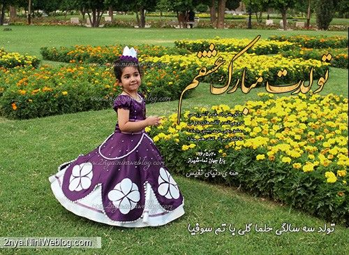 عکس تولد زیبا فضای باز باغ جهان نما حلما سه ساله شعر دخترم عاشقانه لباس سوفیا صوفیا بنفش تاج گل تولدت مبارک عشقم