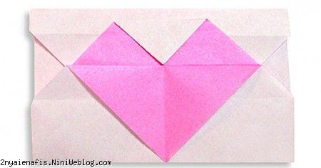پاکت نامه قلبی آموزش یک پاکت زیبا بشکل قلب Origami Heart's Letter Origami Heart's Letter