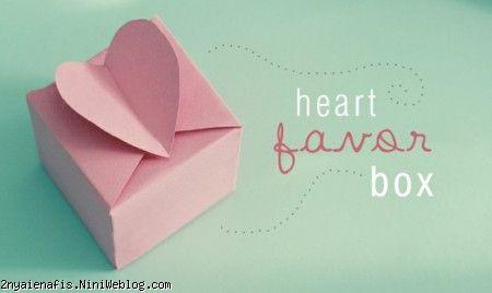 الگوی جعبه کادوهای قلبی شکل 1 + الگو
