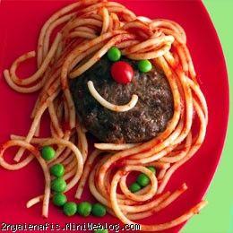 تزیین غذای کودک با ماکارونی و کتلت!!