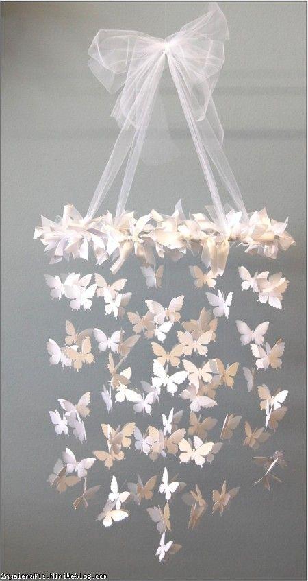 آموزش ساخت آویز زیبا با مخصوص تزيين اتاق کودک  آویز پروانه
