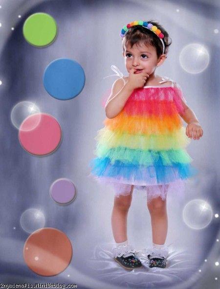 تولد پرنیا با تم رنگین کمونی رنگین کمان مدل کارت دعوت لباس رنگی