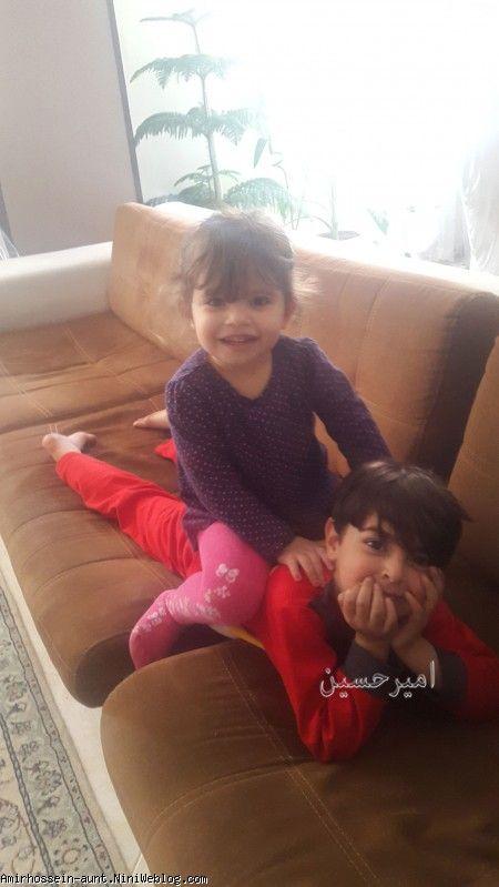 امیرحسین همراه با سلما (نوههای عمه) - فروردین 96 خانه عمه طاهره