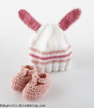 کلاه و پاپوش بافتنی خرگوش