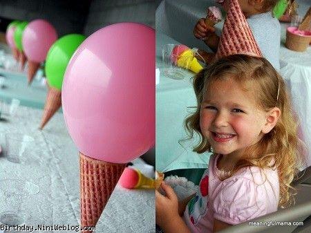 کلاه تولد با تم بستنی