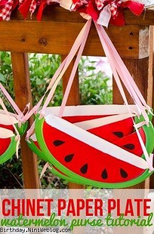 کاردستی کیف هندوانه با بشقاب یکبار مصرف