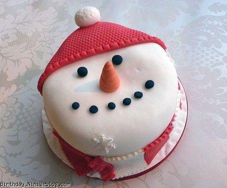 مدل کیک زمستانی آدم برفی