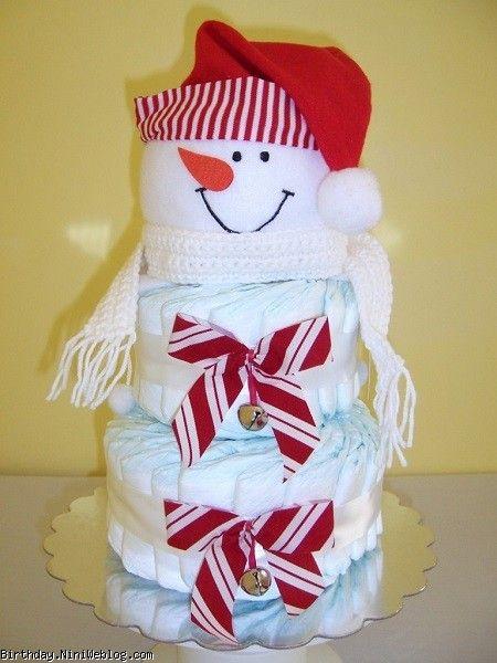 کیک پوشکی آدم برفی