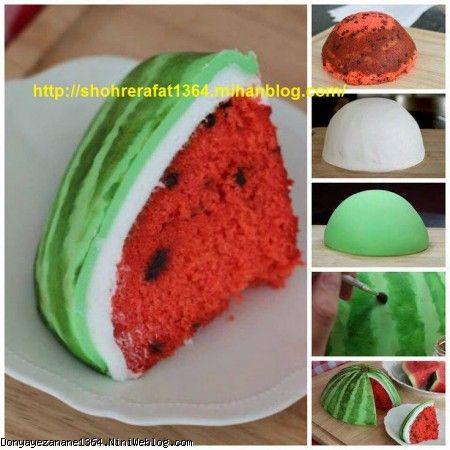 اموزش تصویری درست کردن کیک به شکل هندوانه