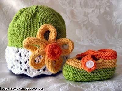 کلاه و کفش بافتنی بچگانه