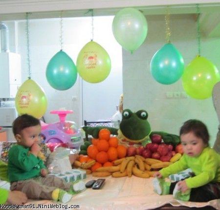 کودک من   جشن تولد تارا و طاهای عزیز با تم قورباغه