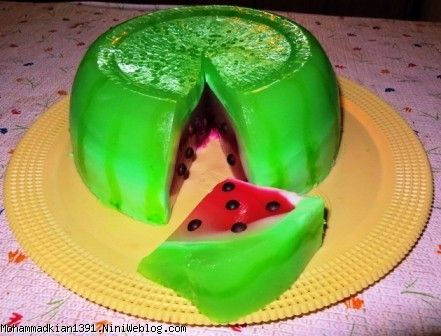 Image result for ژله سه بعدی هندوانه