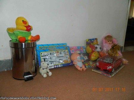 چند تا از عروسکها و ماشینها و سطل زباله پینگیل