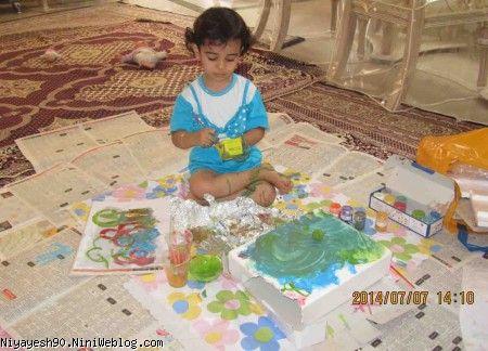 نقاشی کردن با رنگ گواش