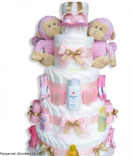 کیک پوشکی دوقلوهای دختر