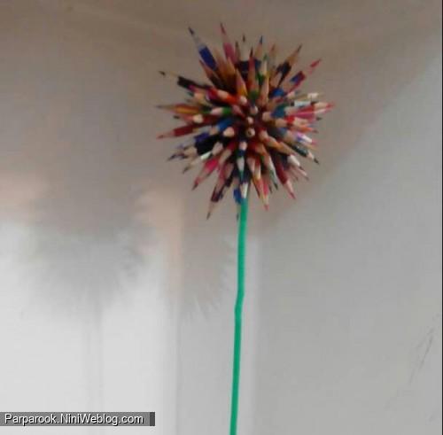 ساخت گل مدادی برای دکور جشن الفبا